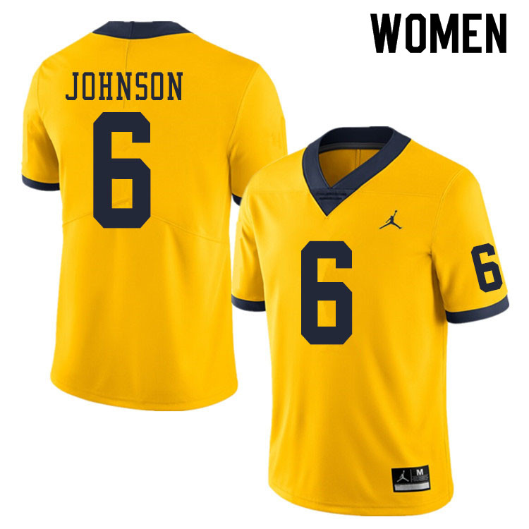Women #6 Cornelius Johnson Michigan Wolverines College Football Jerseys Sale-Yellow