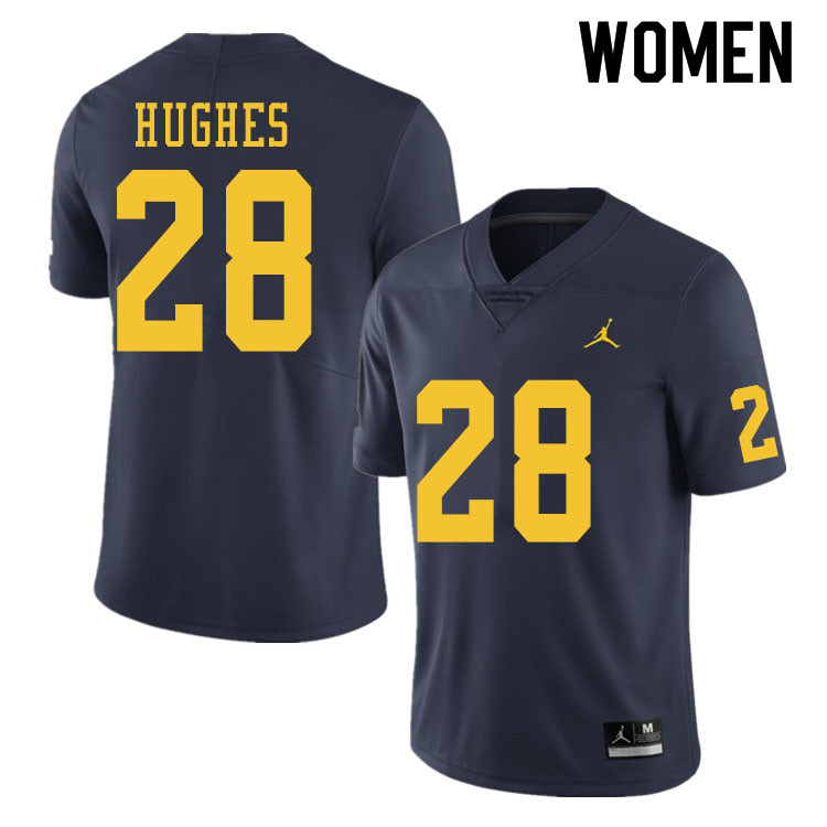 Women #28 Danny Hughes Michigan Wolverines College Football Jerseys Sale-Navy