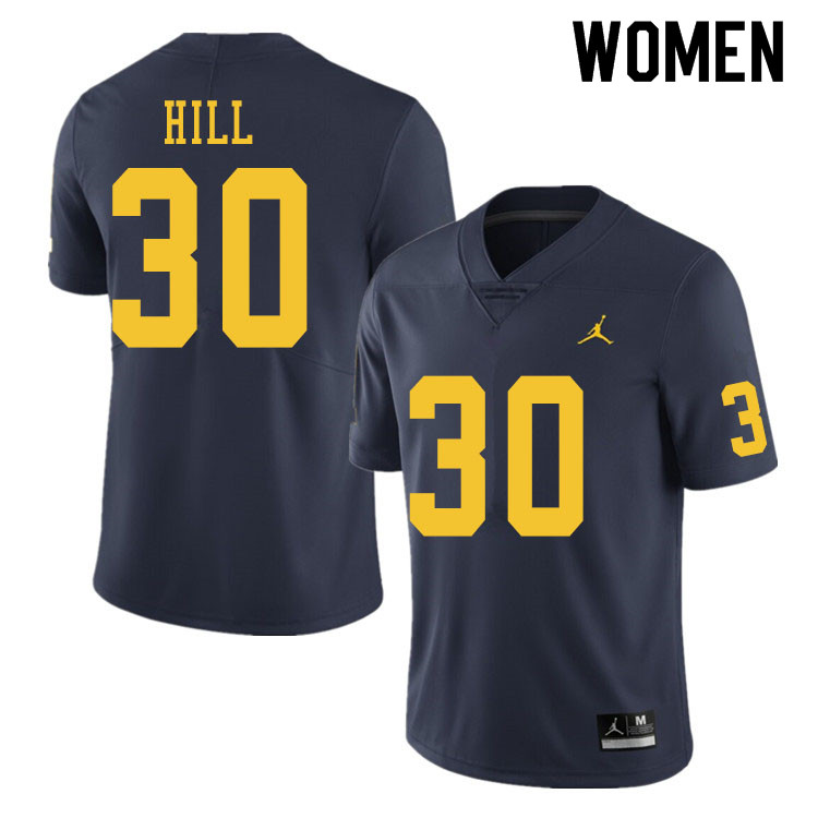 Women #30 Daxton Hill Michigan Wolverines College Football Jerseys Sale-Navy