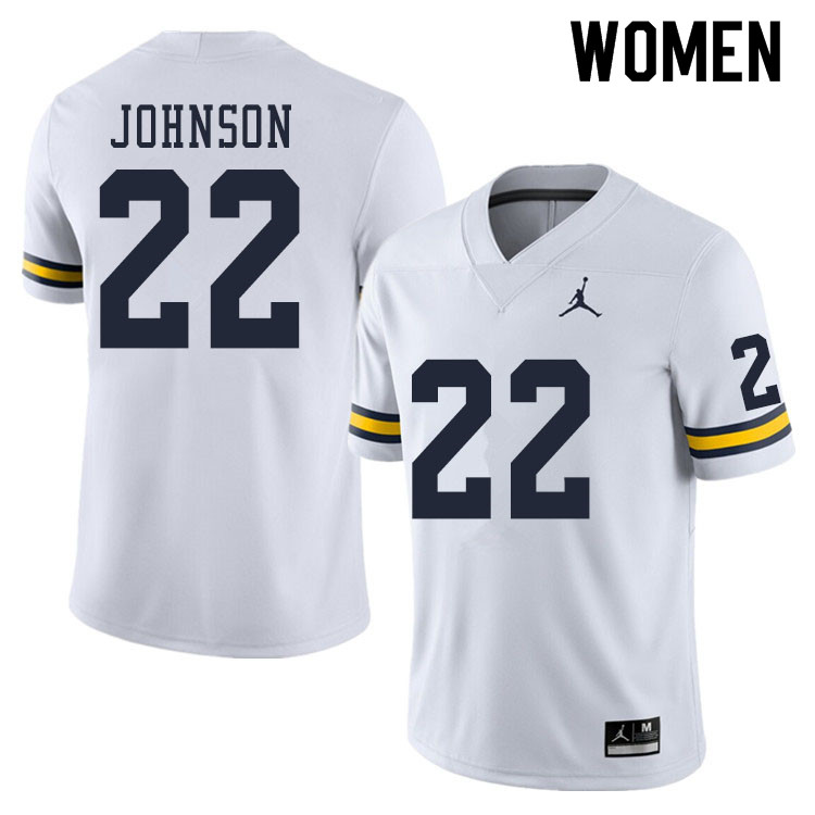 Women #22 George Johnson Michigan Wolverines College Football Jerseys Sale-White