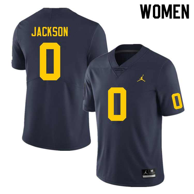 Women #0 Giles Jackson Michigan Wolverines College Football Jerseys Sale-Navy