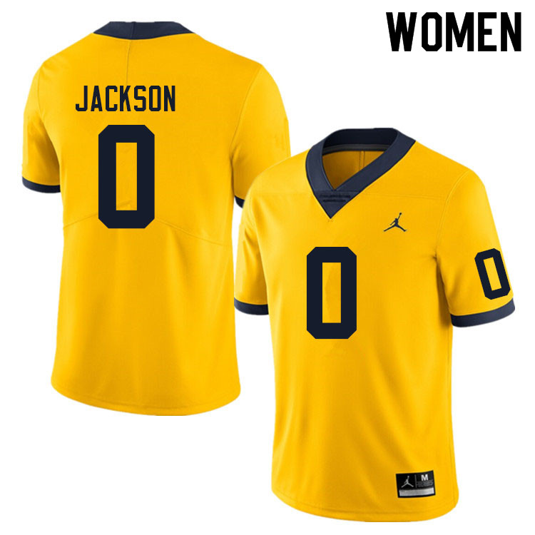 Women #0 Giles Jackson Michigan Wolverines College Football Jerseys Sale-Yellow