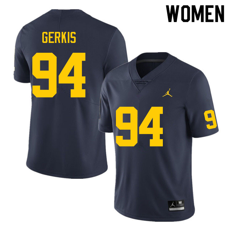 Women #94 Izaak Gerkis Michigan Wolverines College Football Jerseys Sale-Navy