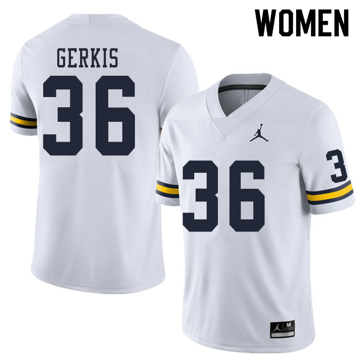 Women #36 Izaak Gerkis Michigan Wolverines College Football Jerseys Sale-White
