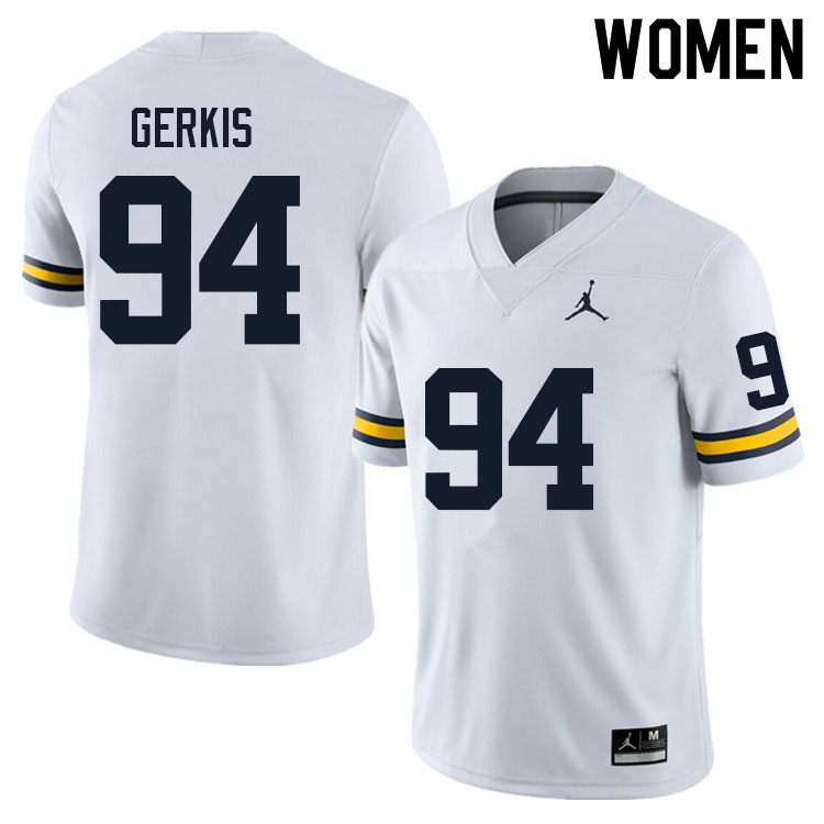 Women #94 Izaak Gerkis Michigan Wolverines College Football Jerseys Sale-White