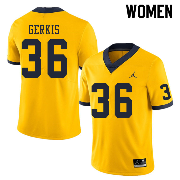 Women #36 Izaak Gerkis Michigan Wolverines College Football Jerseys Sale-Yellow