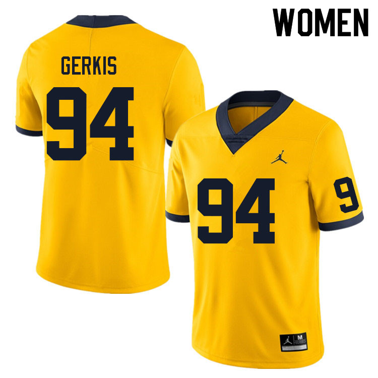 Women #94 Izaak Gerkis Michigan Wolverines College Football Jerseys Sale-Yellow
