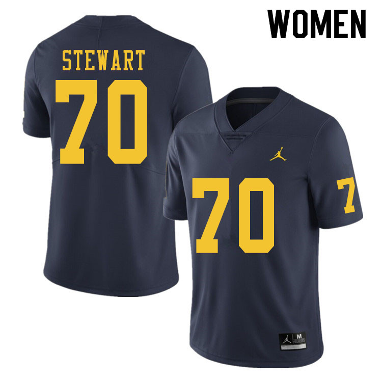 Women #70 Jack Stewart Michigan Wolverines College Football Jerseys Sale-Navy