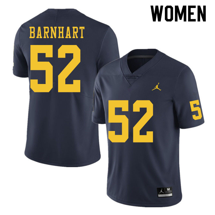 Women #52 Karsen Barnhart Michigan Wolverines College Football Jerseys Sale-Navy