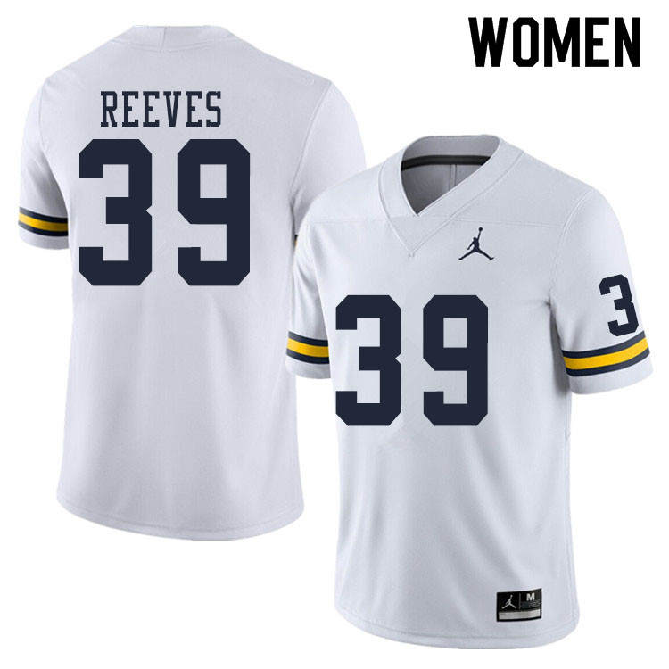 Women #39 Lawrence Reeves Michigan Wolverines College Football Jerseys Sale-White