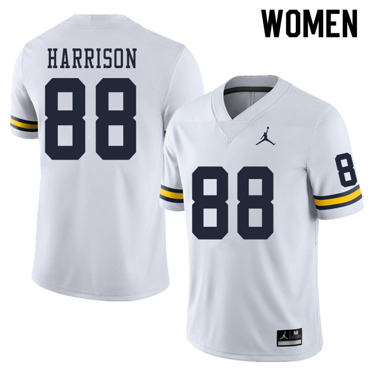 Women #88 Mathew Harrison Michigan Wolverines College Football Jerseys Sale-White