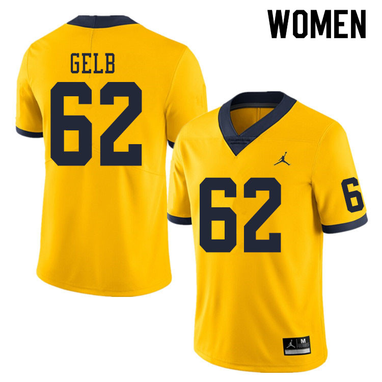 Women #62 Mica Gelb Michigan Wolverines College Football Jerseys Sale-Yellow