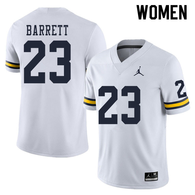 Women #23 Michael Barrett Michigan Wolverines College Football Jerseys Sale-White
