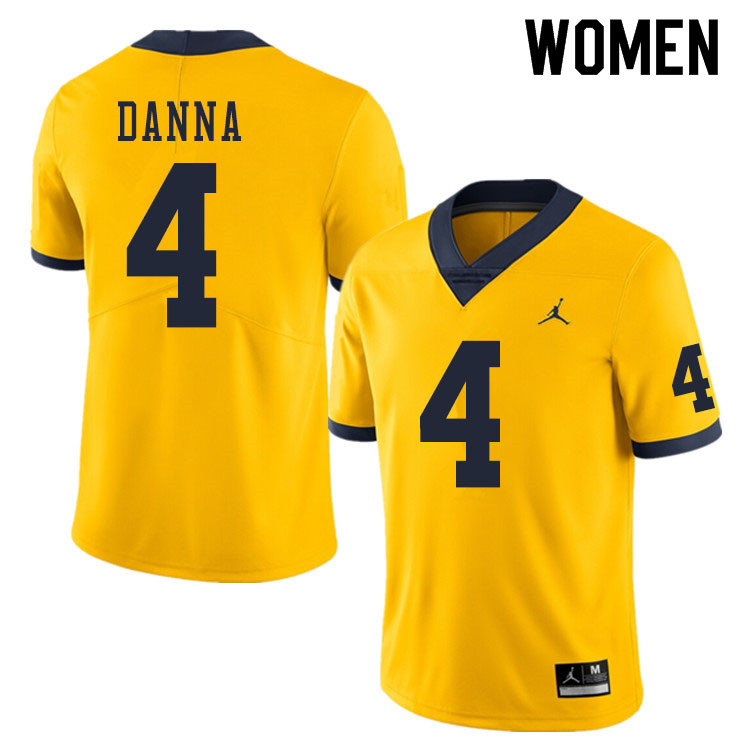 Women #4 Michael Danna Michigan Wolverines College Football Jerseys Sale-Yellow