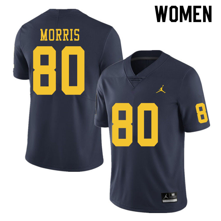Women #80 Mike Morris Michigan Wolverines College Football Jerseys Sale-Navy