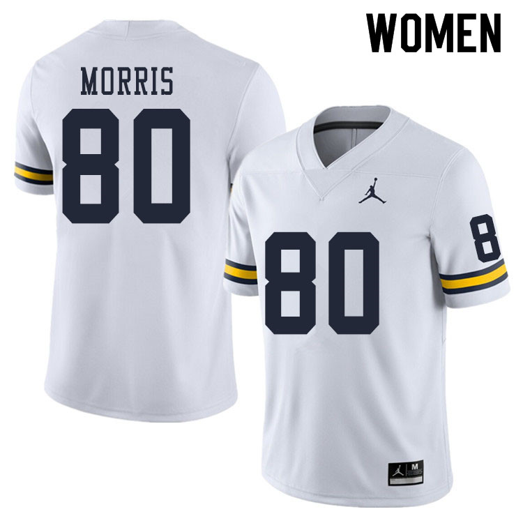 Women #80 Mike Morris Michigan Wolverines College Football Jerseys Sale-White