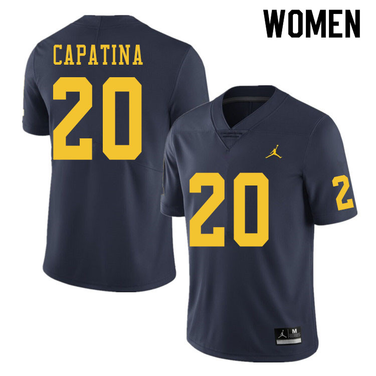 Women #20 Nicholas Capatina Michigan Wolverines College Football Jerseys Sale-Navy