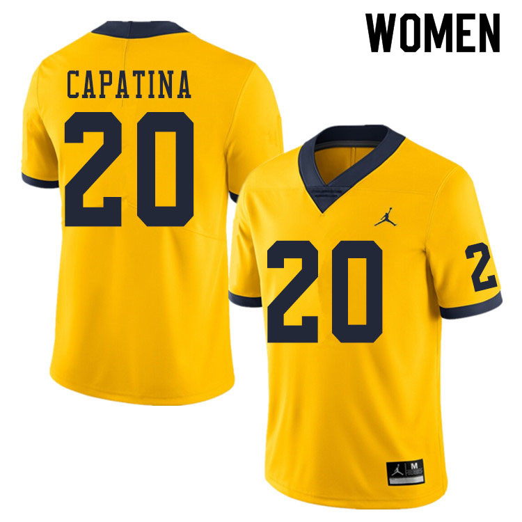 Women #20 Nicholas Capatina Michigan Wolverines College Football Jerseys Sale-Yellow