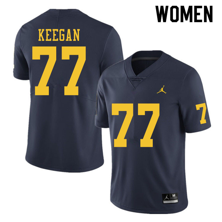 Women #77 Trevor Keegan Michigan Wolverines College Football Jerseys Sale-Navy