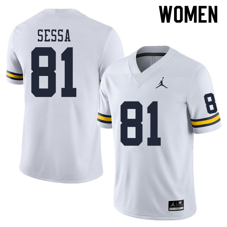 Women #81 Will Sessa Michigan Wolverines College Football Jerseys Sale-White
