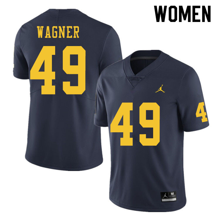 Women #49 William Wagner Michigan Wolverines College Football Jerseys Sale-Navy