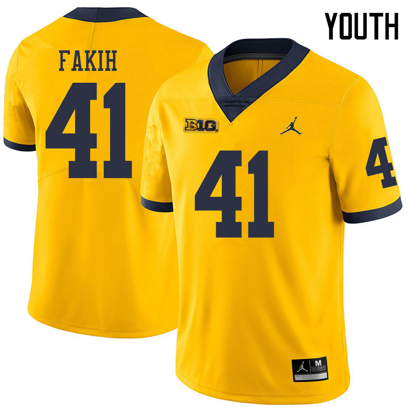 Jordan Brand Youth #41 Adam Fakih Michigan Wolverines College Football Jerseys Sale-Yellow