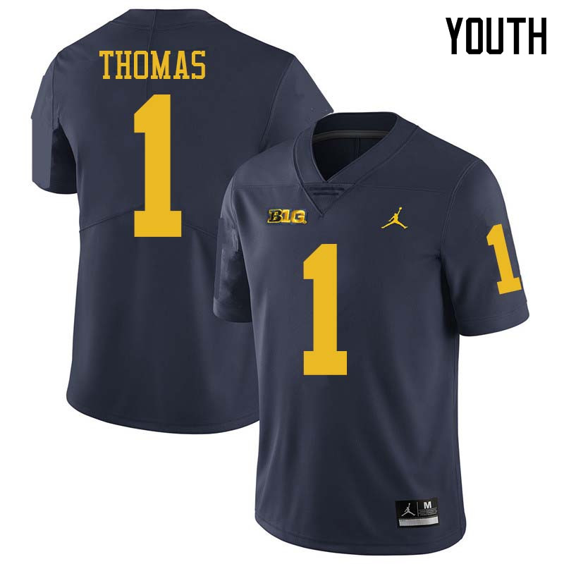 Jordan Brand Youth #1 Ambry Thomas Michigan Wolverines College Football Jerseys Sale-Navy