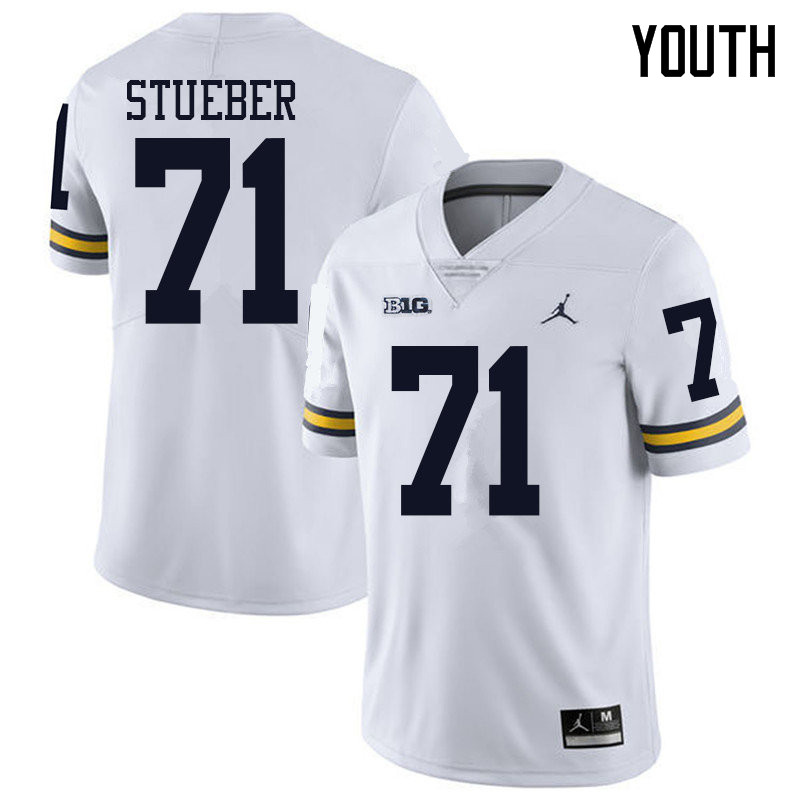 Jordan Brand Youth #71 Andrew Stueber Michigan Wolverines College Football Jerseys Sale-White