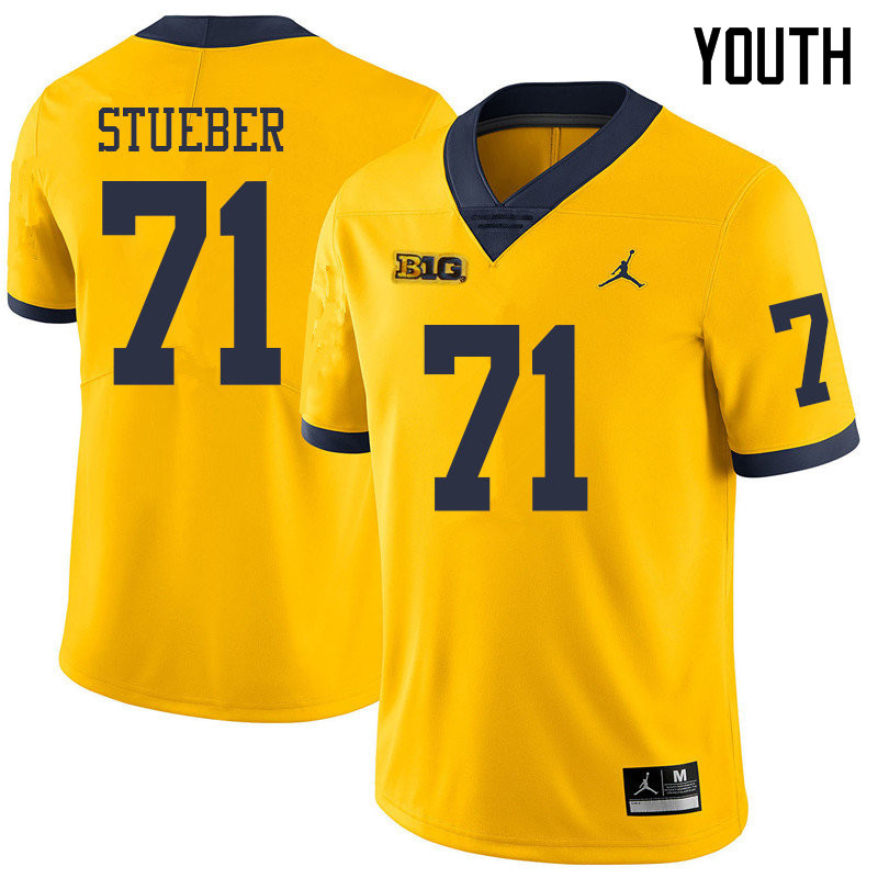 Jordan Brand Youth #71 Andrew Stueber Michigan Wolverines College Football Jerseys Sale-Yellow