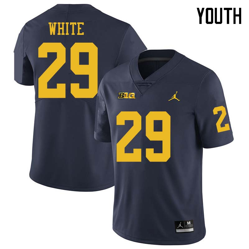 Jordan Brand Youth #29 Brendan White Michigan Wolverines College Football Jerseys Sale-Navy