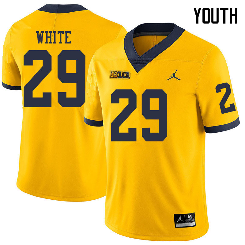 Jordan Brand Youth #29 Brendan White Michigan Wolverines College Football Jerseys Sale-Yellow