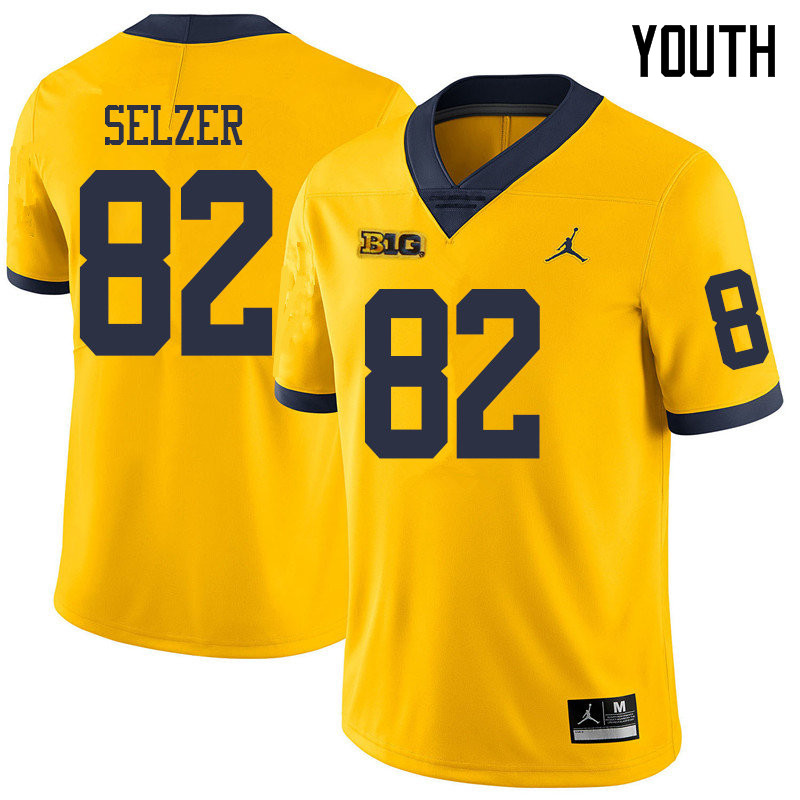 Jordan Brand Youth #82 Carter Selzer Michigan Wolverines College Football Jerseys Sale-Yellow