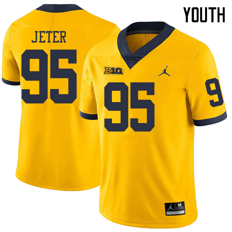 Jordan Brand Youth #95 Donovan Jeter Michigan Wolverines College Football Jerseys Sale-Yellow