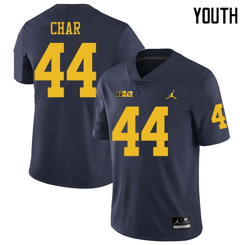 Jordan Brand Youth #44 Jared Char Michigan Wolverines College Football Jerseys Sale-Navy