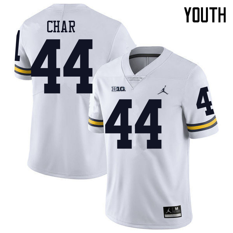 Jordan Brand Youth #44 Jared Char Michigan Wolverines College Football Jerseys Sale-White