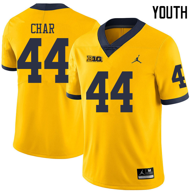 Jordan Brand Youth #44 Jared Char Michigan Wolverines College Football Jerseys Sale-Yellow