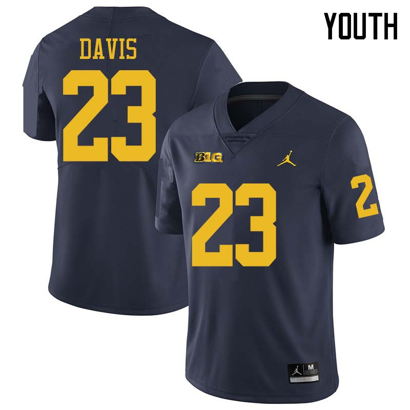 Jordan Brand Youth #23 Jared Davis Michigan Wolverines College Football Jerseys Sale-Navy