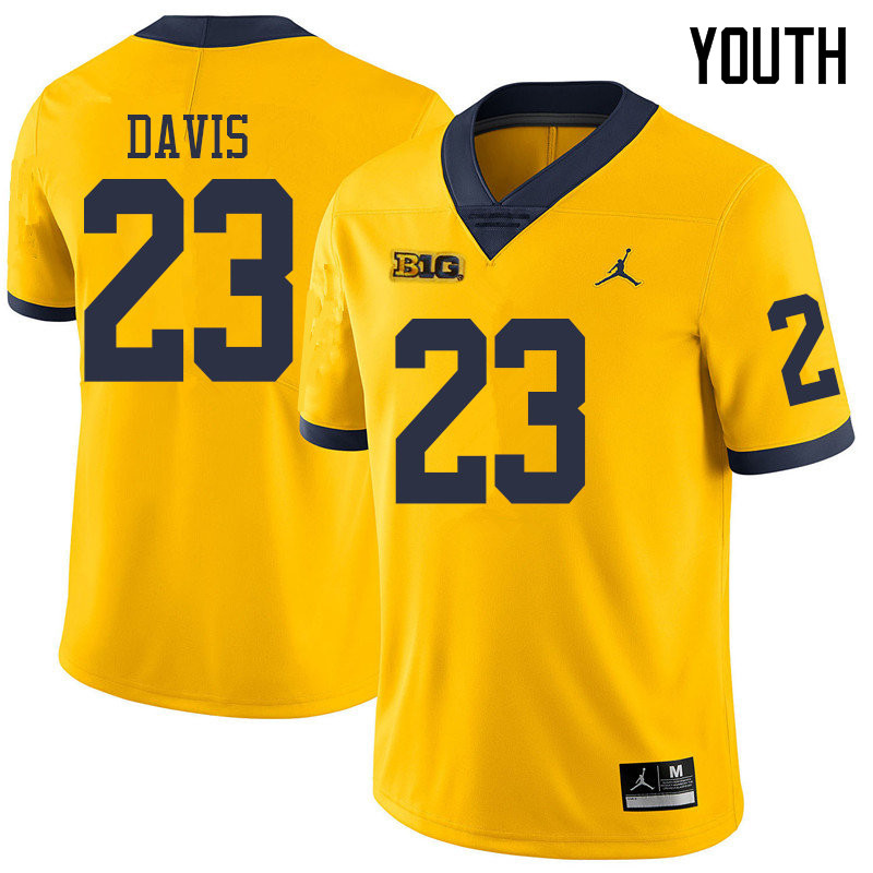 Jordan Brand Youth #23 Jared Davis Michigan Wolverines College Football Jerseys Sale-Yellow
