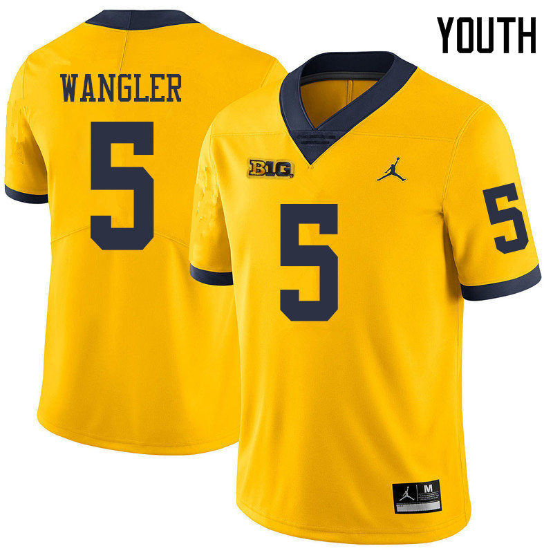 Jordan Brand Youth #5 Jared Wangler Michigan Wolverines College Football Jerseys Sale-Yellow