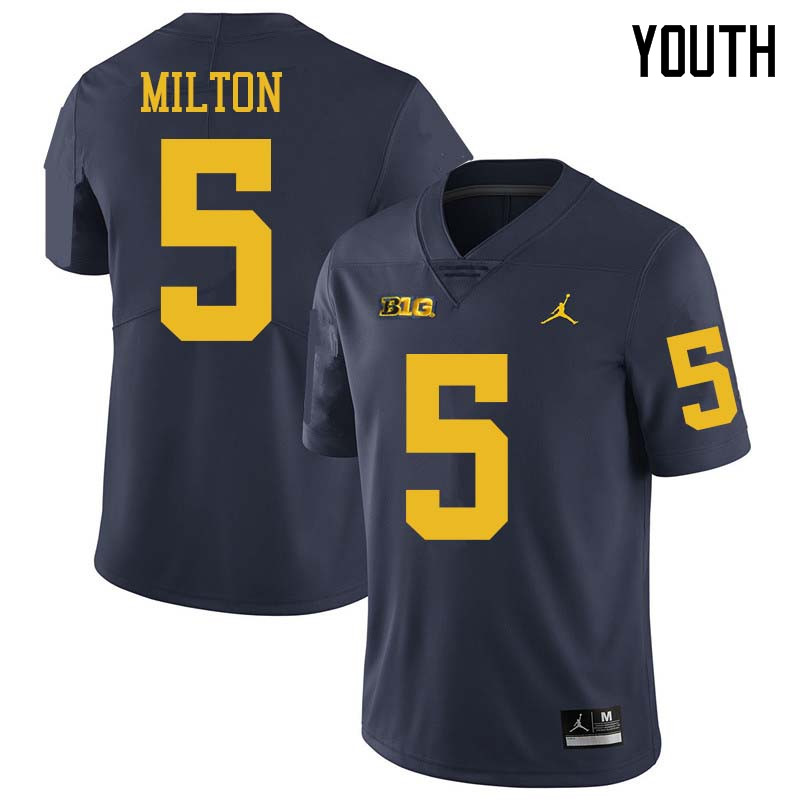 Jordan Brand Youth #5 Joe Milton Michigan Wolverines College Football Jerseys Sale-Navy