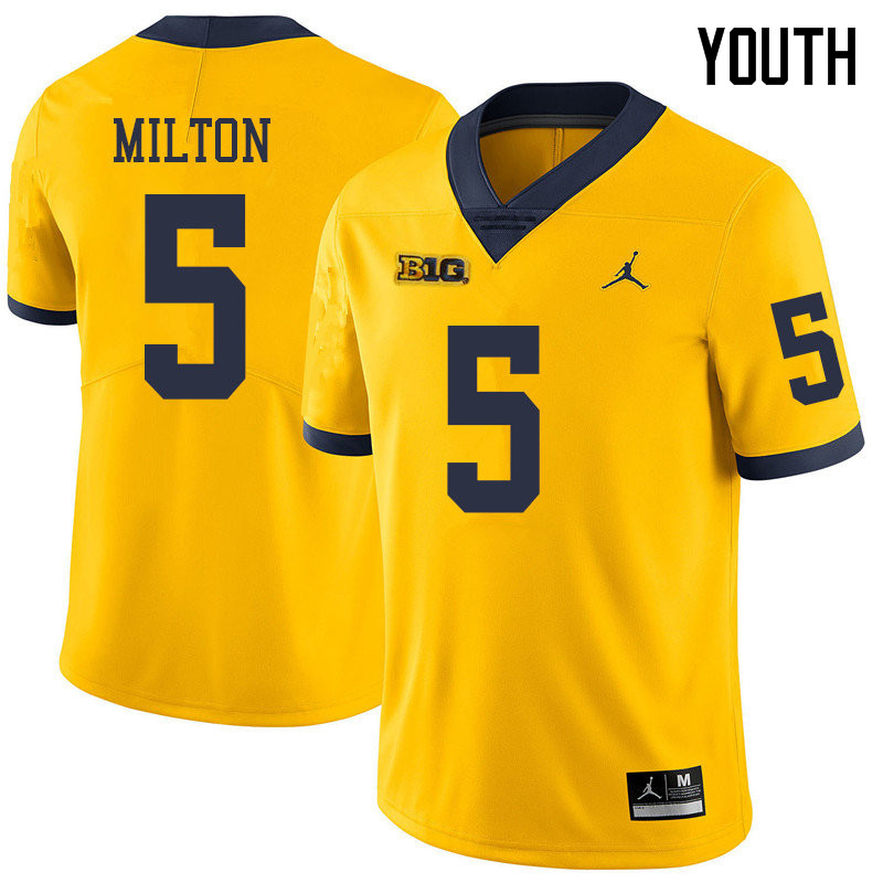 Jordan Brand Youth #5 Joe Milton Michigan Wolverines College Football Jerseys Sale-Yellow