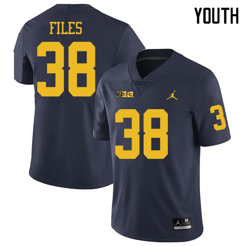 Jordan Brand Youth #38 Joseph Files Michigan Wolverines College Football Jerseys Sale-Navy