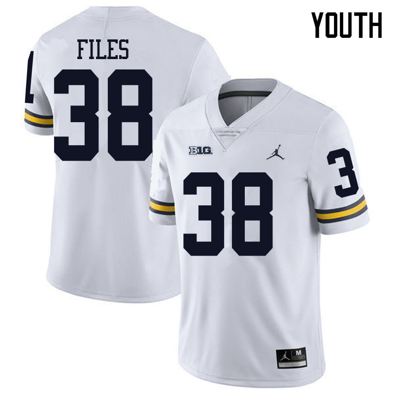 Jordan Brand Youth #38 Joseph Files Michigan Wolverines College Football Jerseys Sale-White