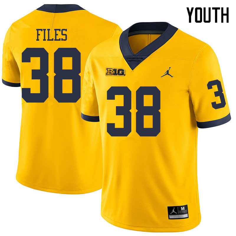 Jordan Brand Youth #38 Joseph Files Michigan Wolverines College Football Jerseys Sale-Yellow