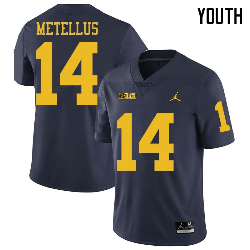 Jordan Brand Youth #14 Josh Metellus Michigan Wolverines College Football Jerseys Sale-Navy