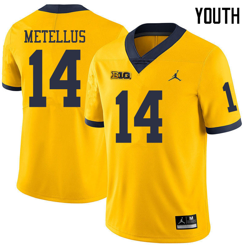 Jordan Brand Youth #14 Josh Metellus Michigan Wolverines College Football Jerseys Sale-Yellow