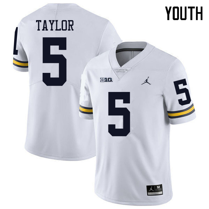 Jordan Brand Youth #5 Kurt Taylor Michigan Wolverines College Football Jerseys Sale-White