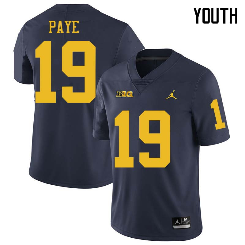 Jordan Brand Youth #19 Kwity Paye Michigan Wolverines College Football Jerseys Sale-Navy