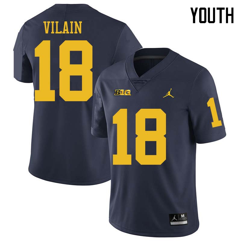 Jordan Brand Youth #18 Luiji Vilain Michigan Wolverines College Football Jerseys Sale-Navy