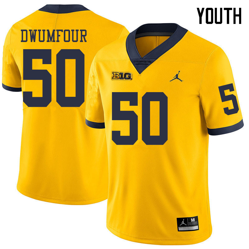 Jordan Brand Youth #50 Michael Dwumfour Michigan Wolverines College Football Jerseys Sale-Yellow